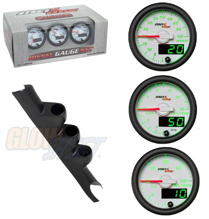 GSMaxTow White Diesel Set-Boost,Pyro,Fuel Pres&Black Pod For 03-09 Dodge Cummins
