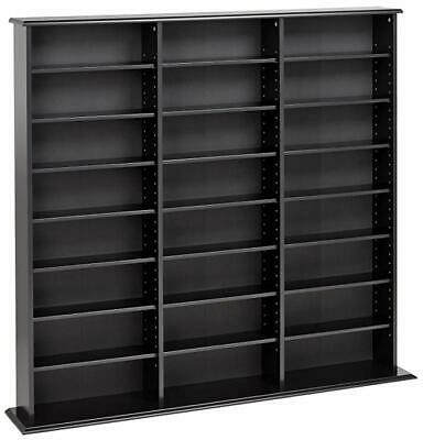 DVD Storage Rack Organizer Cabinet CD VHS Blu-Ray Media Large Wall Tower Shelf Wall Cd Storage Rack