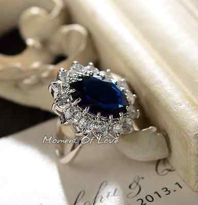 Beautiful Oval Blue Sapphire Royal Engagement Wedding Silver White Gold GP Ring - Gold Oval Sapphire Ring