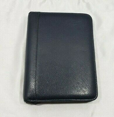 Franklin Quest Covey Compact Planner Binder Navy Blue Pebble Leather Zip Seasons