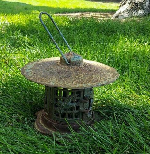 Vintage Japanese Cast Iron Garden Lantern with Bird ~ Great Surface Patina!