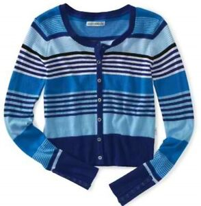 NEW-Aeropostale-Blue-Multi-Stripe-Womens-Crew-Neck-Button-Cardigan-Sweater-XXL