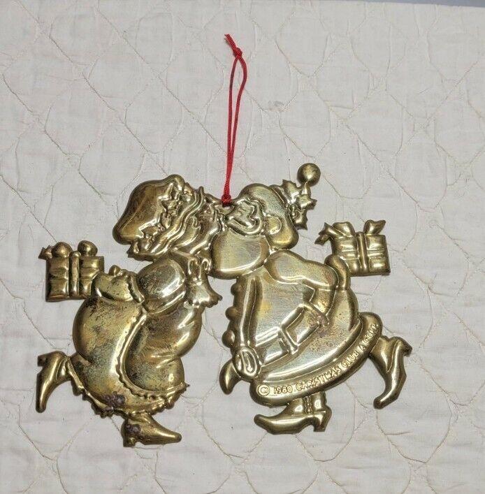 Vintage 1980 Copper Tin Mrs & Mr Santa Claus Kissing Ornament
