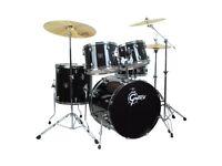 Gretsch Black Hawk drum kit, cow bell & Solar Sabian SBR Performance Cymbals including Sabian bag
