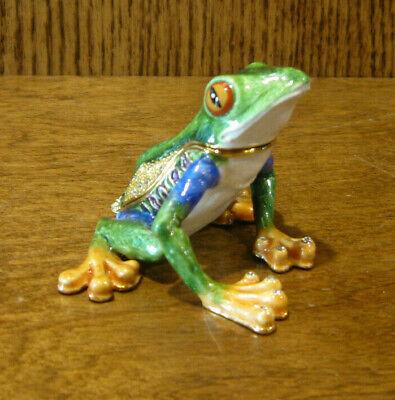 "Jeweled Kubla Crafts Trinket Box #KC3781 TREE FROG, NIB 1.75"" Collectible"