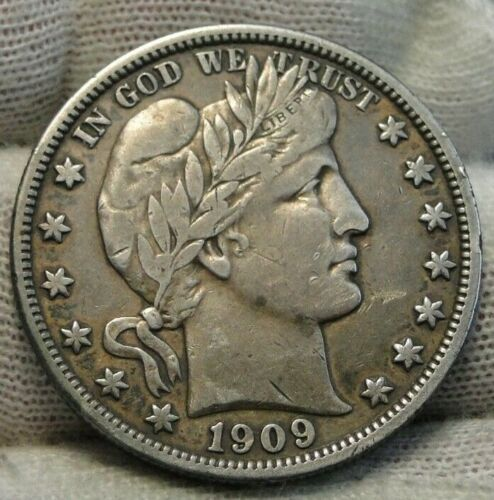 1909 Barber Half Dollar 50 Cents - Nice Coin, Free Shipping  (9273)