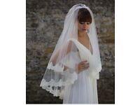 Stunning Joyce Jackson lace edged double veil