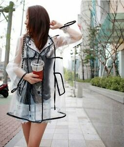 Transparent-Sexy-Fashion-Raincoat-Womens-Girls-Clear-Waterproof-Rain-Coat-Black