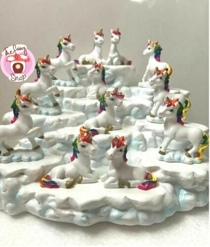 12 Magical Rainbow unicorn figurines As Pictured