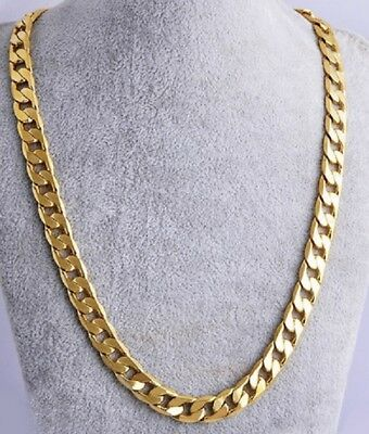 UK Heavy 61cm Necklace Gold Plated Cuban Curb Link Chain Miami 24' inch N1 UK