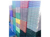 Bail Arm Bale Plastic Crates Storage Stacking Supermarket Warehouse Boxes 20cm deep