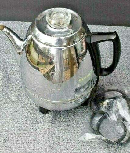 General Electric Percolator, 13P30, Complete & Works, 9 CUPS Vintage Mid Century