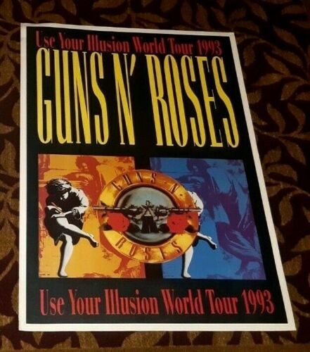 GUNS AND ROSES USE YOUR ILLUSION WORLD TOUR 1993 VINTAGE POSTER