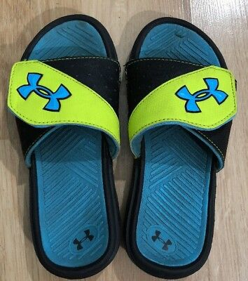 UNDER ARMOUR Sandals Size 1Y Blue Black And Yellow