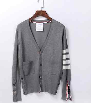 Thom Browne Gray Wool Striped Armband Cardigan size 3(M)