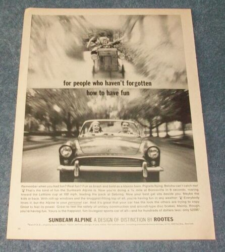 """1963 Sunbeam Alpine Vintage Ad """"For People Who Haven"""