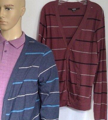 2 Carbon mens cardigans v-neck buttons long sleeve shirt material stripes 2XL
