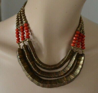 Beautiful African Ethnic Tribal Style Necklace Gold Brass Triangles Red Beads vg for sale  Shipping to Nigeria