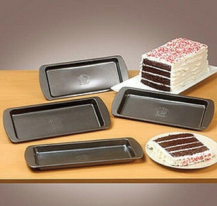 4 Pc Layer Cake Pan Set Easy Layers Kitchen Pans Nonstick Bakeware Carbon Steel Bakeware
