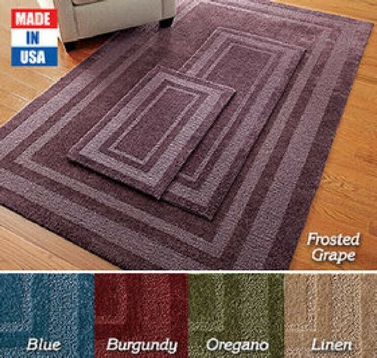 Double Frame Rug 5′ x 8′ – LINEN Made in USA No Slip Fade Resistant Soft BEIGE Area Rugs