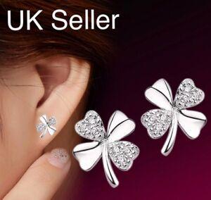 925 Sterling Silver 4 Leaf Clover Shamrock Rhinestone Butterfly Stud Earrings