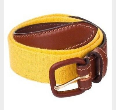 American Apparel Sunshine Yellow Solid Web Belt Brown Leather Buckle M (30-32)
