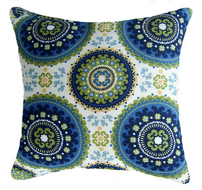 Medallion Outdoor Pillow, Bindis Summer Outdoor Throw Pillow In Blue Lime Yellow
