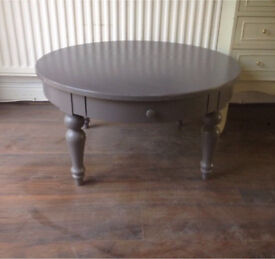 Grey round ikea coffee table