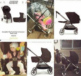 Pushchair armadillo XT flip pram and carrycot in black