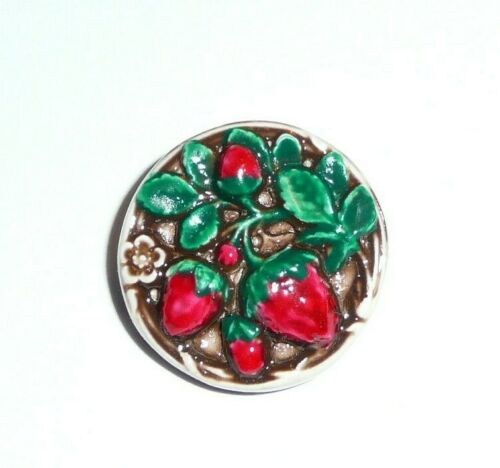 "Strawberry & Strawberry Plant Fruit Art Stone Shank Button Strawberries 3/4"""
