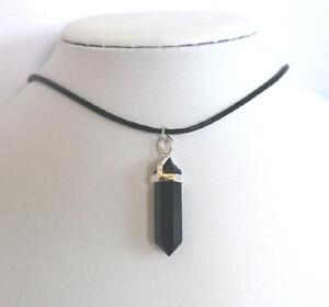 Stunning Genuine Leather Crystal Quartz Point Choker Necklace Gem Pendant Charm