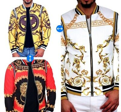 Versace Inspired Greek Key Print Yellow Satin Jacket ROYAL 7EVEN