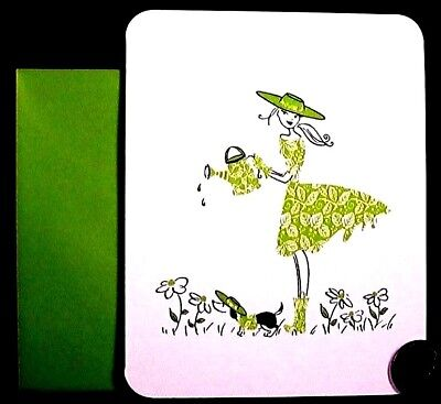 Papyrus Adorable Girl in Green Watering Flowers Puppy Dog  Blank Note Card  NEW