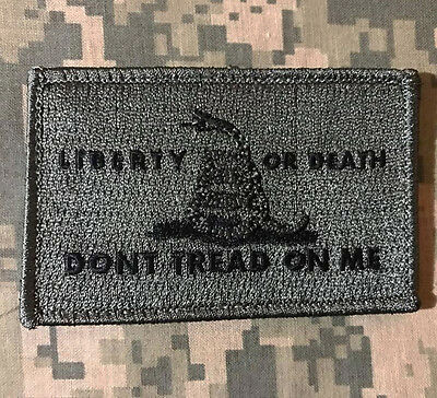 LIBERTY OR DEATH DONT TREAD USA ARMY TACTICAL ACU DARK HOOK MORALE PATCH