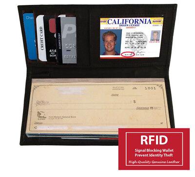 Black Leather Checkbook Cover Organizer - RFID Blocking Black Leather Checkbook Cover Organizer Wallet Holder US SELLER
