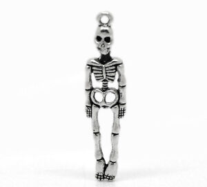 50PCs Silver Tone Skeleton Body Skull Charm Pendants 39x9mm(1 4/8