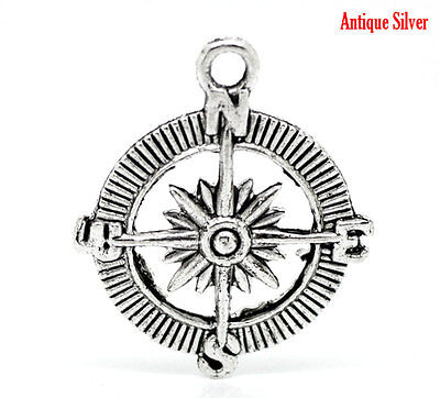 6 Antiqued Silver Tone Pewter COMPASS Charm Pendants . chs0265a