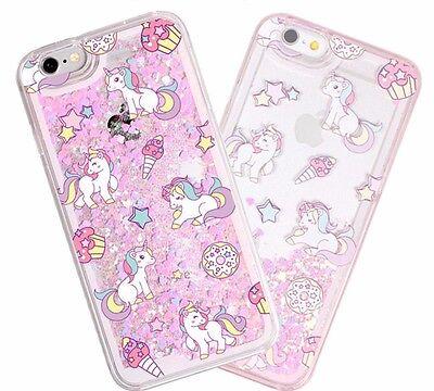 iPhone 5/6S/7+/8+PLUS - HARD CASE Waterfall PINK UNICORNS Liquid Glitter Hearts