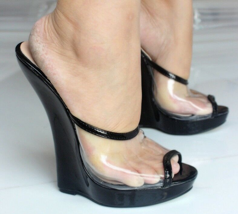 6d25e994a2fb Women Transparent Wedge Extreme High Heels Mules Peep Toe Sandals Club Shoes