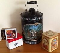 VINTAGE TINS, WOODEN JARS $5-$15  Also TOLE PAINTED CAN
