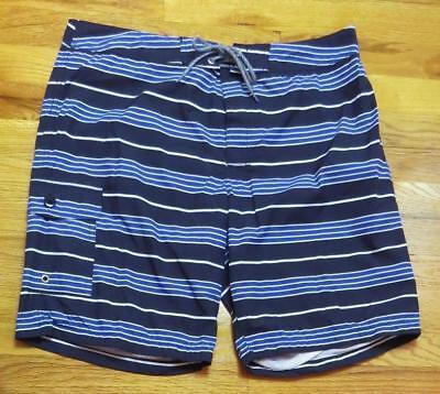 "JCrew Mens 9"" Board Short Blue Stripe Swim Trunk H9312 $70 Black Cobalt 35"