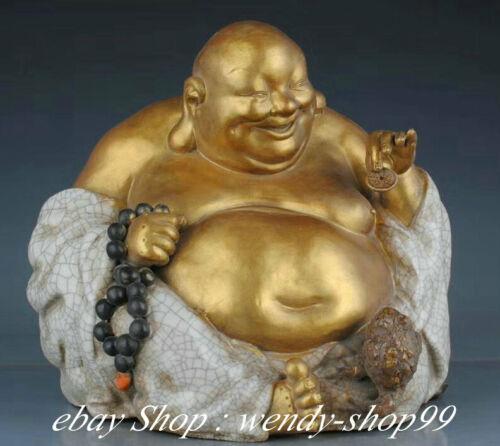 "13"" Antiques Chinese Gold Porcelain Happy Laugh Maitreya Buddha Bead Sculpture"