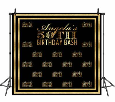 50th Birthday Bash (50th Birthday Bash Backdrop for Photography Step and Repeat Black Gold)