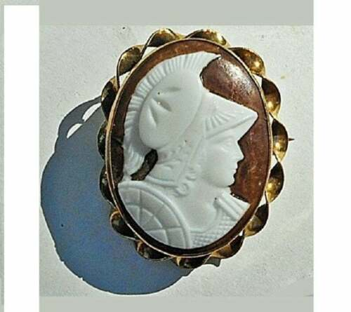 Victorian Milk Glass Cameo of Athena Female Warrior, Brass GF Twisted Pendant