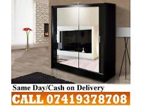 A 2 Door Sliding with High Gloss Black/White Wardrob
