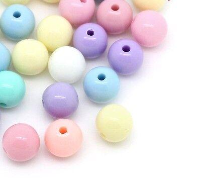 500 Pastel Acrylic Round Beads 6mm Hole 1.5mm Childrens Beads J28558