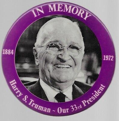 HARRY TRUMAN IN MEMORY LARGE MEMORIAL 33RD PRESIDENT POLITICAL PIN