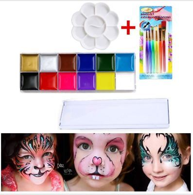 Professional 12 Colors Face Body Paint Oil Painting Halloween Party Kit Sets
