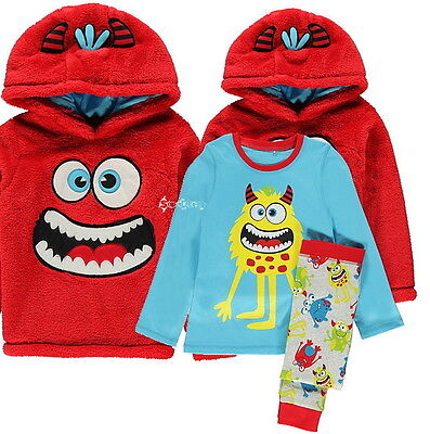 Boys George Monster 3 Piece Cotton Pyjama Set Fleece Hooded Top Ages 2-10 Years ()