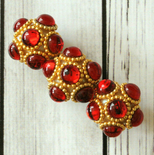French vintage red cab cabochon chunky large barrette hair clip made in France